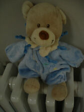 TEX BABY BEIGE BLUE TEDDY BEAR PLANE ON REMOVABLE OUTFIT SOFT TOY