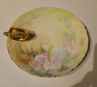 Gorgeous T&V LIMOGES FRANCE DEPOSE Handled Plate Nappy Dish HANDPAINTED signed