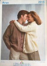 "Aran Knitting Pattern Ladies Mens Cardigan Size 30/48"" Chest"