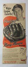 1953 RAWLINGS Baseball Glove ad ~ Cardinals MARTY MARION Major League