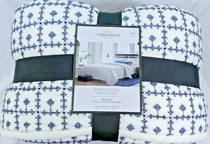 Threshold Blue Embroidered Grid Quilt ~ King ~ Cotton Hand Quilted NEW!!!