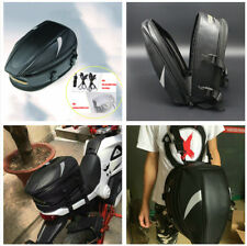 Black Motorcycle Rear Back Seat Bag Storage Tail Helmet Tank Bags w/Rain Cover