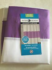 InterDesign Stripe Water-Repellent Zeno Grape Purple White Fabric Shower Curtain