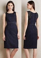 ANTHROPOLOGIE NWT Larkin Dress Sheath Navy Black Lace Sz 8 M Medium $168