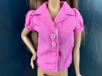 Barbie Doll Pink Puffy Sleeve Button Collar Shirt Top Replacement Office School