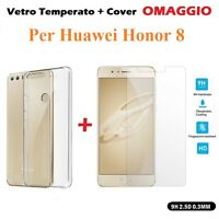 COVER CUSTODIA in TPU + PELLICOLA in VETRO TEMPERATO per HUAWEI HONOR 8