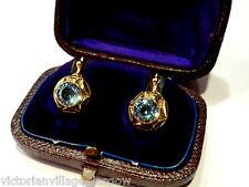 ANTIQUE 9CT GOLD BLUE ZIRCON EARRINGS