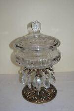 Vtg Large Cut Crystal Pedestal Bowl & Lid  with Brass Base & Hanging Prisms