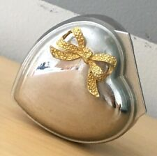 Vintage Japan Lara's Theme Heart Shape Silver Tone Music Jewelry Trinket Box