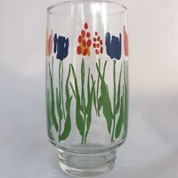 (Set Of 4) Vintage Drinking Glasses Tumblers, Red Yellow Blue Flowers