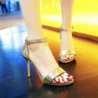 Women High Heel Ankle Strap Sandals Open Toe Buckle Solid Party Plus Size Shoes