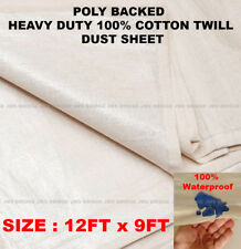 4 X 12FT X 9FT COTTON TWILL DUST SHEET WITH WATERPROOF POLY BACKING