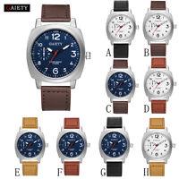 Casual Men Business Fashion Leather Band Analog Quartz Round Wrist Watch Watches