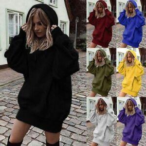 Womens Plain Hoodie Hooded Ladies Oversize Jumper Loose Long Sleeve Sweatshirts