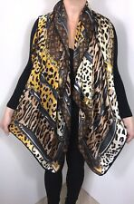 NEW Leopard Designer Inspired Silk Scarf Pashmina Browns Silky & Softest Square