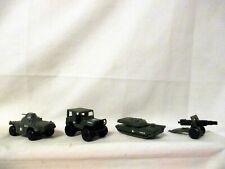 "4 Vintage Matchbox ""Military Vehicles "" Jeep~Abrams tank~Weasel tank~Field Gun"