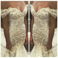 Luxury Beads Off Shoulder Lace Pearls Mermaid Wedding Dress Bride Bridal Gown