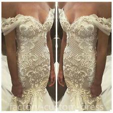 4cb5d95a4b5 Luxury Beads Off Shoulder Lace Pearls Mermaid Wedding Dress Bride Bridal  Gown