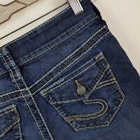 Silver Suki Skinny Slim Women's Dark Wash Blue Jeans Size 26 x 29 Actual 26 x 28