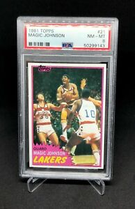 1981 Topps Basketball Magic Johnson PSA 8 #21 First Solo Card Lakers