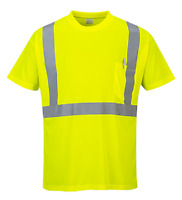 S190 HI-VIS POCKET T-SHIRT CLASS 2:2 100% POLYESTER SIZE M-5XL REFLECTIVE TAPE