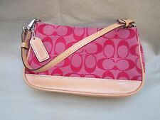 """Coach"" Women's Classic Handbag/Purse 8"" X 5"" X 2"" Beige Leather Pink/Red C'SSS!"