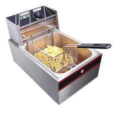 2500W 6L Electric Deep Fryer Fat Chip Commercial Countertop Stainless Steel