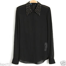 """WOMENS BLACK WHITE METAL STUDDED COLLAR SHIRT TOP BLOUSE NEW BUST SIZE 43"""""""