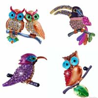 Fashion Lovely Spring Animal Birds Crystal Brooch Pin Women Costume Jewelry Gift
