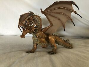Papo Action Figure Fire Breathing Golden Two headed Hydra Dragon 2005