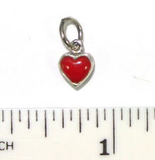 Vintage Designer sterling silver heart charm -  Red Onyx with Scroll work