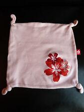 A12- DOUDOU PLAT COTON ROSE fleurs rouges FERMETURE ECLAIR RANGE TETINE - TTBE !