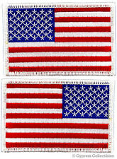 LOT of 2 - AMERICAN FLAG EMBROIDERED PATCH iron-on USA white border EMBROIDERED