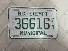 BRITISH COLUMBIA BC CANADAExempt MUNICIPAL license plate tag 1971 36616