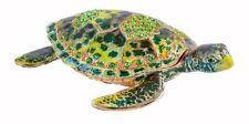 Jeweled Stunning Sea Turtle Ciel Collectible Hinged Trinket Box Austrian Crystal