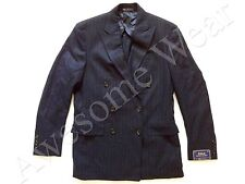 Ralph Lauren Polo USA Made Navy Double Breasted Wool Sport Coat Jacket SLIM 42 L