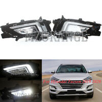 Pair LED Daytime Running Light DRL Front Fog Lamp For Hyundai Tucson 2019 2020
