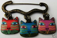 COLOURFUL CAT FACE ENAMEL CHARM BRONZE TONE BROOCH / PIN B
