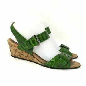 Anyi Lu Womens Buckle Wedge Green Leather Ankle Strap Sandals Size 8 Snake Print