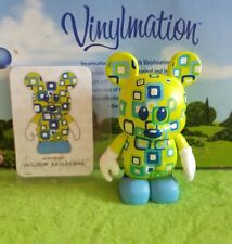 "Disney Vinylmation 3"" Park Set 4 Urban Sqaures Blocks Blue Green with Card"