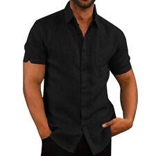 Mens Short Sleeve Button Down Shirts Summer Casual Linen Blouse Basic Tee Tops