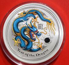 "Australien 1 Dollar 2012 Silber 1 Oz  Year of the Dragon ""DARK BLUE"" #F 2499"
