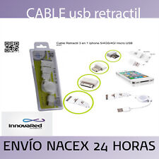 CABLE USB RETRACTIL 3 EN 1 IPHONE 5/4GS/4G Y MICRO USB KLONER