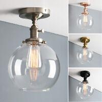 "Retro Industrial Edison 7.9"" Globe Clear Glass Sconce Wall Light Flushmount Lamp"