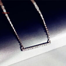 18k White Gold Filled Made with Swarovski Crystal Silver Bar Necklace N126