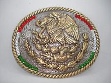 Mens Mexico Flag Western Rodeo Huge Belt Buckle Silver Gold w Swarovski crystals