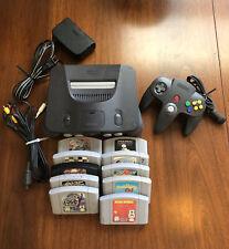 Nintendo 64 N64 Bundle Lot Gray Console Controller 10 Games Memory Card