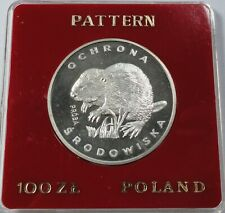 1978 Poland Polen 100 zl zlotych Silver Proof Probe Pattern Beaver RARE