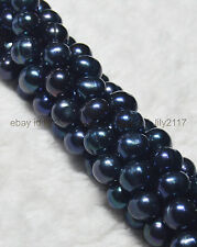 "AAA NATURAL 9-10MM Black Tahitian Cultured pearls Loose Beads 15"" Strand"