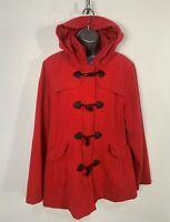WOMENS KANGOL PLUS SIZE UK 18 BRIGHT RED CASUAL HOOD WINTER DUFFLE COAT JACKET